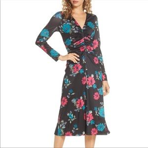CHARLES HENRY Floral Ruched Midi Dress BLACK SMALL